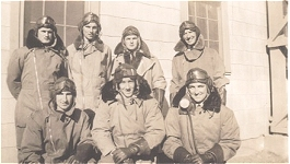 in their flying gear was taken in Canada 1942 dad first on the left ,front row & his good friend Jim Buckham from Queenstown , back row right,on end the rest I don't know who they are ,but I think they will be all NZers